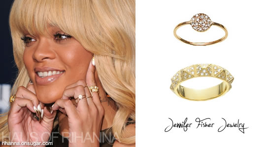 Rihanna in Jennifer Fisher jewelry - mini disk ring and stud ring