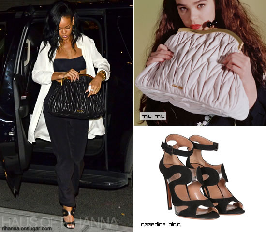 Rihanna carrying Miu Miu matelasse handbag and wearing Azzedine Alaia black suede shoes