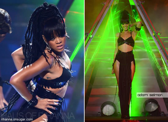 Rihanna in black Adam Selman outfit, Pamela Love tribal spike earrings and Lynn Ban cuff