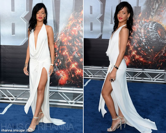 Rihanna in white dress by Adam Selman at the Los Angeles premiere of Battleship