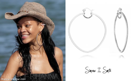 Rihanna in Simone I. Smith Precious Fruit hoop earrings in Hawaii