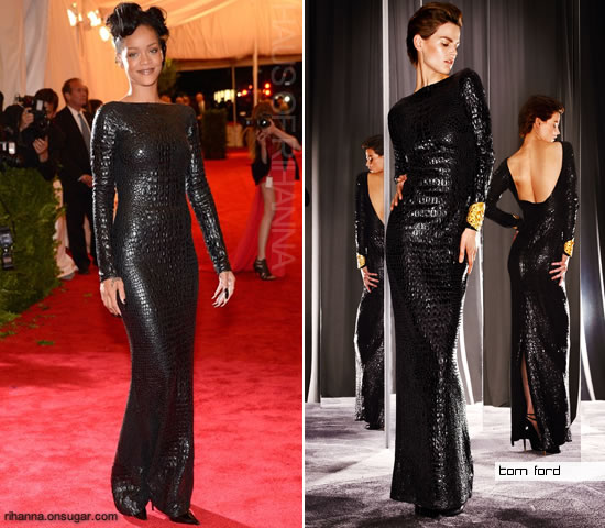 Rihanna in black Tom Ford dress at 2012 Met Ball
