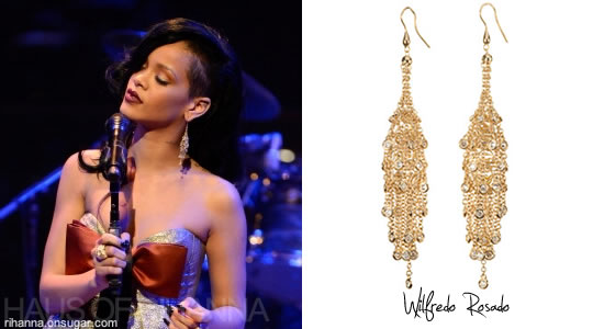 Rihanna in Wilfredo Rosado Fringe earrings at TIME 100 Gala