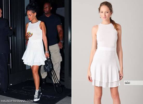 Rihanna wearing A.L.C Lena white dress and Converse high top sneakers