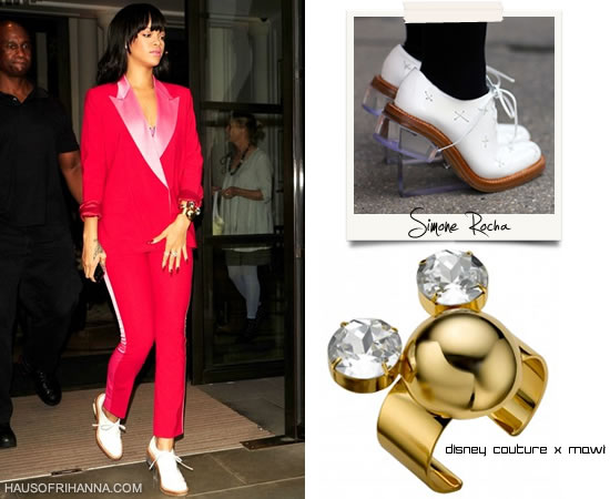 Rihanna wearing red tuxedo with Simone Rocha perspex wedges/glass heel brogues and Disney Couture by Mawi Minnie Mouse golden dome cuff