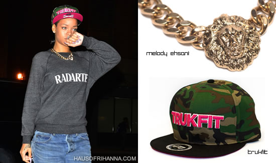 Rihanna in camouflage Trukfit snapback hat, Rodarte sweatshirt and Melody Ehsani necklace