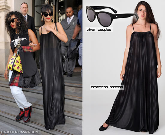 Rihanna in American Apparel pleated trapeze maxi dress and Oliver Peoples Mande sunglasses