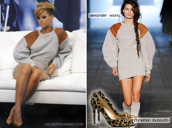 Rihanna in grey Alexander Wang sweatshirt dress and Christian Louboutin leopard Pigalle pumps