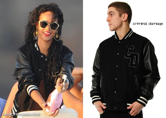 Rihanna in black Criminal Damage letterman jacket
