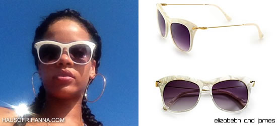 Rihanna in Elizabeth and James white Fairfax cat eye sunglasses