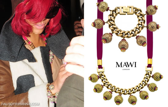 Rihanna in Mawi's Heirloom embedded pearl ball bracelet and necklace