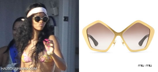 Rihanna in gold Miu Miu Culte sunglasses