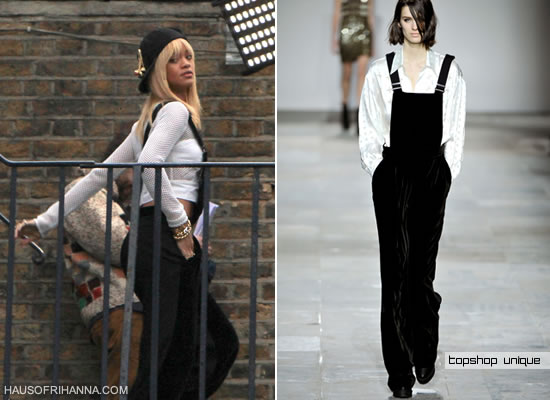 Rihanna in Topshop Unique velvet dungarees/jumper