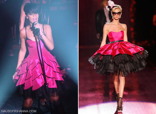 Rihanna in Betsey Johnson hot pink Dahlia dress from 2008
