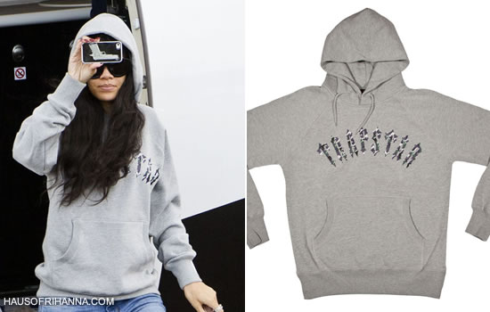 Rihanna in Trapstar grey Irongate Camo hoodie