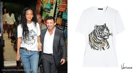Rihanna in white Versace Tiger head t-shirt