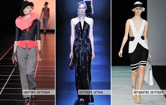 Designs from Giorgio Armani, Armani Privé and Emporio Armani