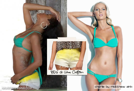 Rihanna wearing Charlie by Matthew Zink Jane bikini and BDG high rise shorts