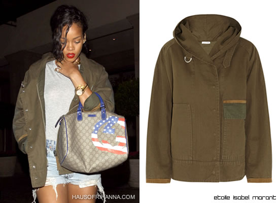 Rihanna in Etoile Isabel Marant green Alan parka coat