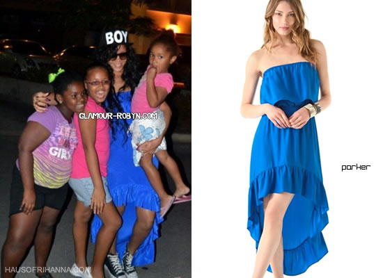 Rihanna in blue Parker Hi-Lo ruffle hem dress