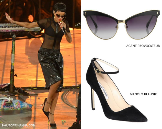 Rihanna in Agent Provocateur sunglasses, Adam Selman mesh bodysuit, Manolo Blahnik suede ankle strap pumps at Paralympics Closing Ceremony