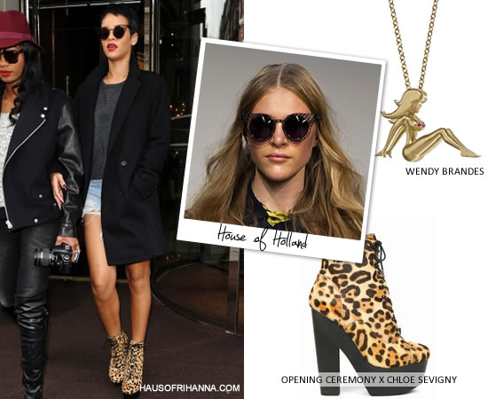 Rihanna wearing House of Holland cage fighter sunglasses, Wendy Brandes mud flap Jill necklace, Opening Ceremony x Chloe Sevigny leopard print boots