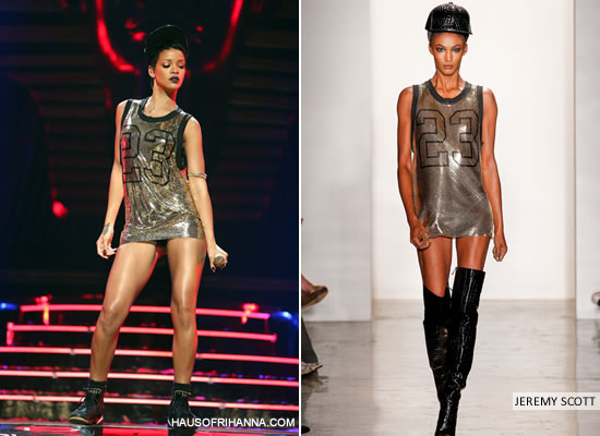 Rihanna in Jeremy Scott Spring/Summer 2013 24k gold sequin basketball jersey mini dress