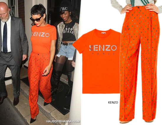 Rihanna in Kenzo Tiger Logo Tee and Kenzo Medallion print pants