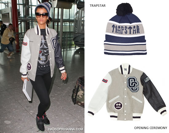 Rihanna in Opening Ceremony OC Patch varsity jacket, Trapstar Riders t-shirt, and Trapstar beanie