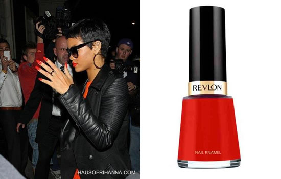 Rihanna wearing Revlon Red Bikini nail polish