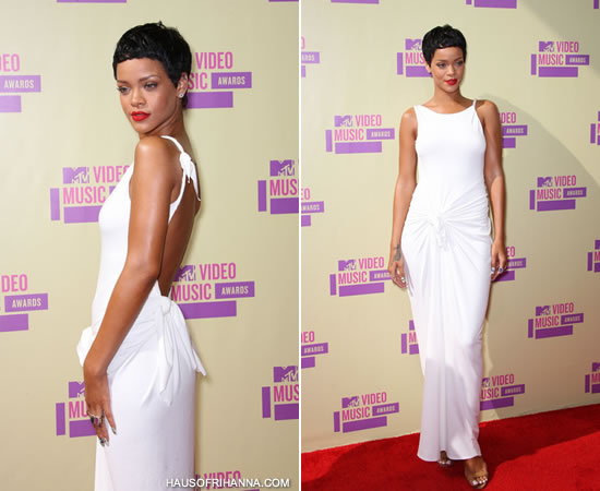 Rihanna at the 2012 MTV Video Music Awards wearing a white Adam Selman dress