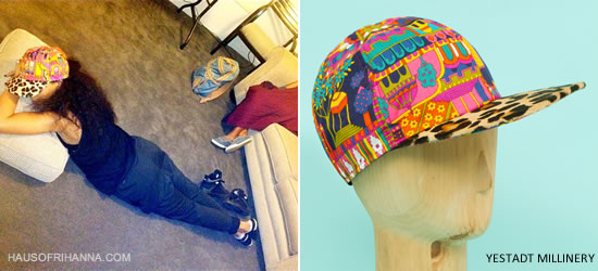 Rihanna In Yestadt Millinery Printed Cap