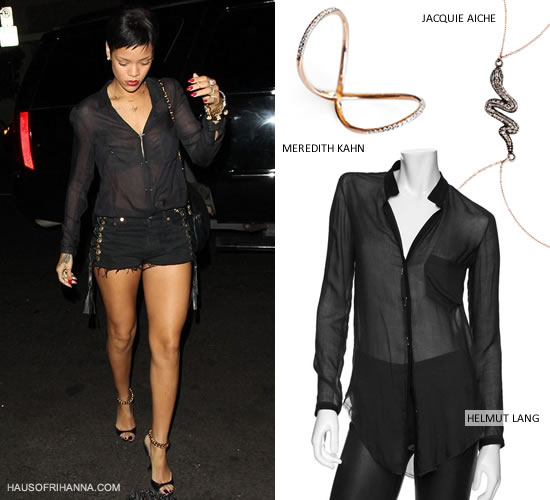Rihanna in Helmut Lang barbell button shirt, Bitching and Junkfood side strap bitchy black shorts with grommets, and Tom Ford ankle chain sandals