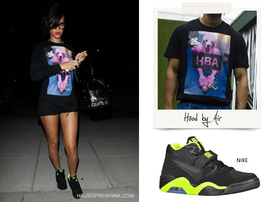Rihanna in Hood by Air HBA pink poodle long-sleeved tee/sweatshirt