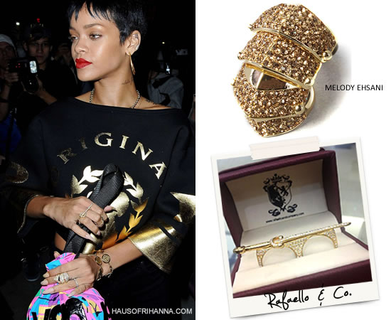 Rihanna in Melody Ehsani crystal Armor-dillo ring and Rafaello and Co custom sword ring