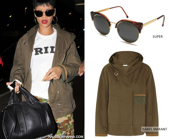 Rihanna in Super Ilaria Gold Lucia sunglasses, Isabel Marant green parka and A Bathing Ape camouflage pants