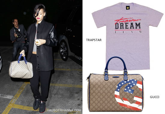 Rihanna in Givenchy long bomber jacket, Trapstar Dream Team t-shirt, Gucci flag collection boston handbag and Nike Air Jordan Retro VII Raptors sneakers