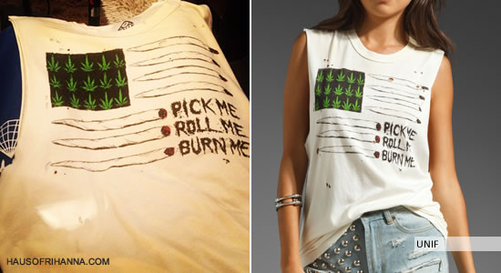 Rihanna's UNIF Joint Flag Sleeveless Tee - Pick me, Roll Me, Burn Me