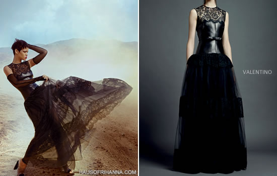 Rihanna in Vogue November 2012 wearing black Valentino Resort 2013 lace and leather dress