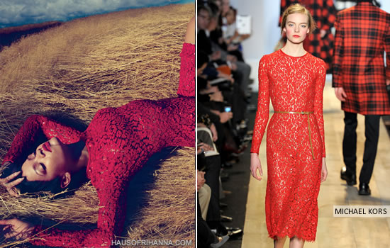 Rihanna in Vogue November 2012 wearing Michael Kors Fall 2012 red floral lace dress