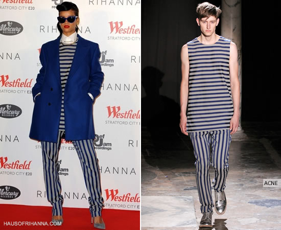 Rihanna in Acne Spring 2013 menswear striped top and pants and Raf Simons jacket