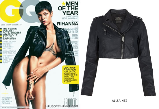 Rihanna on the cover of GQ December 2012 wearing an AllSaints cropped leather jacket