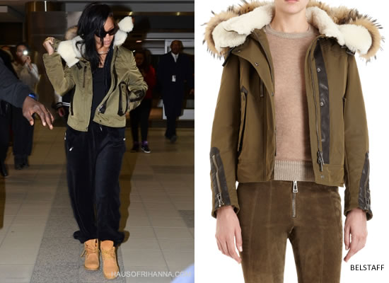Rihanna in Belstaff shearling and raccoon short coat/jacket and Timberland boots