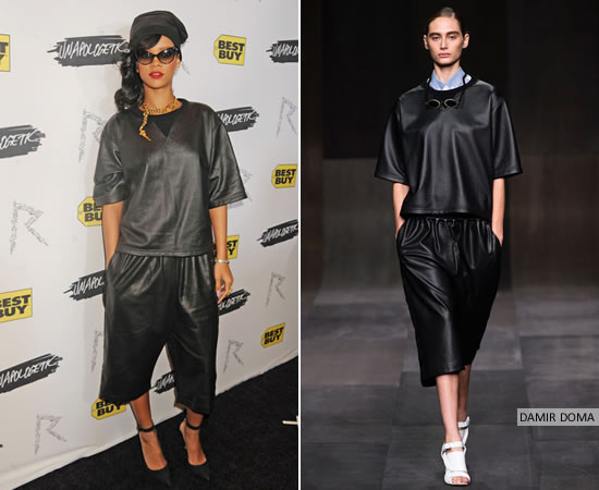 Rihanna at Best Buy in Damir Doma Spring/Summer 2013 leather top and shorts and Skingraft leather tuque