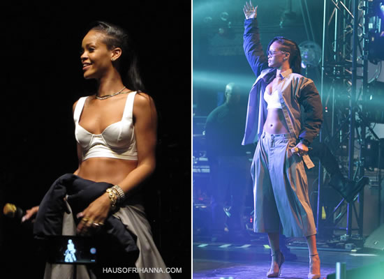 Rihanna performing in Toronto wearing Shaun Samson shirt and oversized shorts