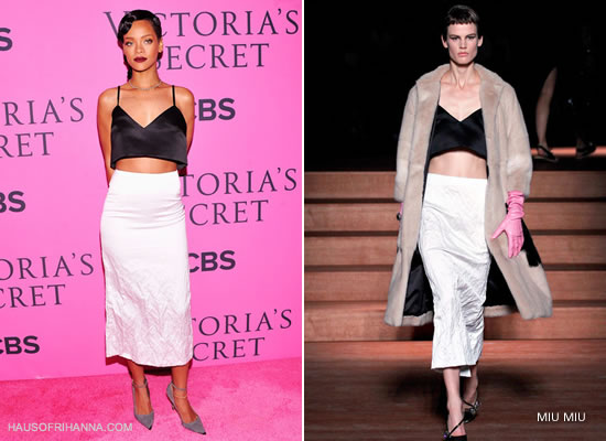 Rihanna at the Victoria's Secret fashion show wearing Miu Miu SS2013