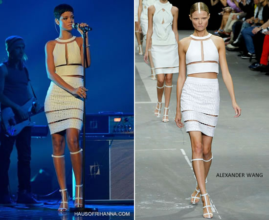 Rihanna on X Factor UK finale wearing Alexander Wang Spring/Summer 2013
