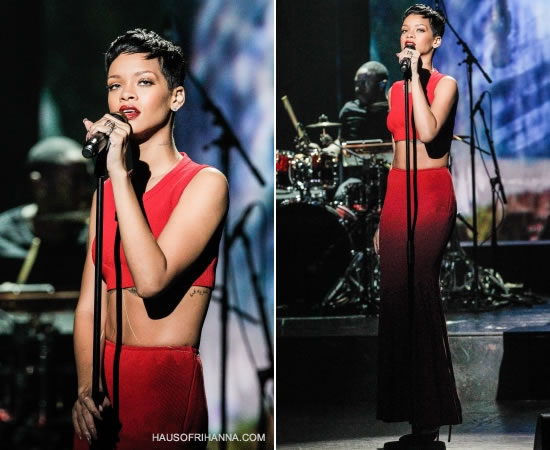 Rihanna performs in Paris wearing red Azzedine Alaia