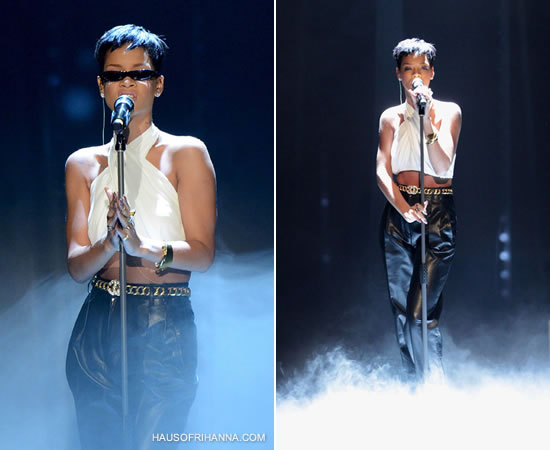 Rihanna in Balmain Spring/Summer 2013 white chiffon halter top and leather trousers