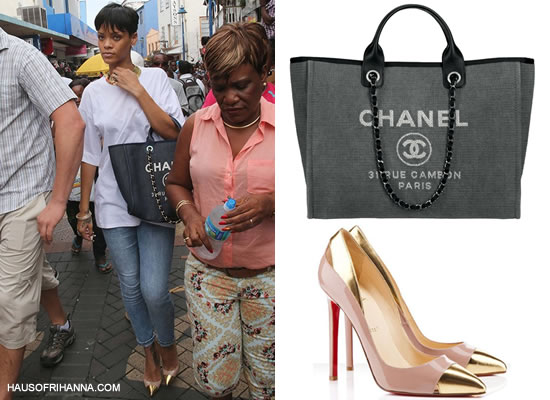 Rihanna in Barbados carrying Chanel Cabas Ete tote and wearing Christian Louboutin Duvette gold toe-cap pumps